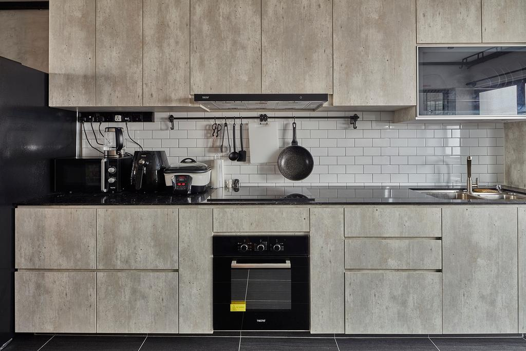 Industrial, HDB, Kitchen, Hougang Avenue 10, Interior Designer, Voila, Appliance, Electrical Device, Oven