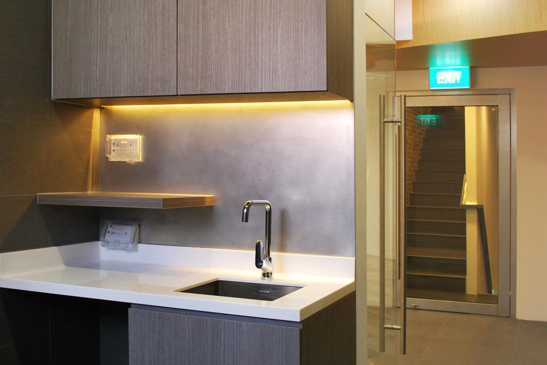 198 Office, Czarl Architects, Transitional, Commercial, Pantry, Sink, Cupboard, Countertop, Solid Surface, Cove Lighting, Socket, Plug, Tap, Appliance, Electrical Device, Microwave, Oven, Indoors, Interior Design