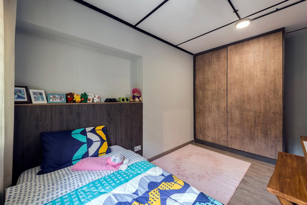 Industrial, HDB, Queen's Close, Interior Designer, Ace Space Design, Retro, Bedroom, Indoors, Interior Design, Room, Bed, Furniture, Hardwood, Stained Wood, Wood