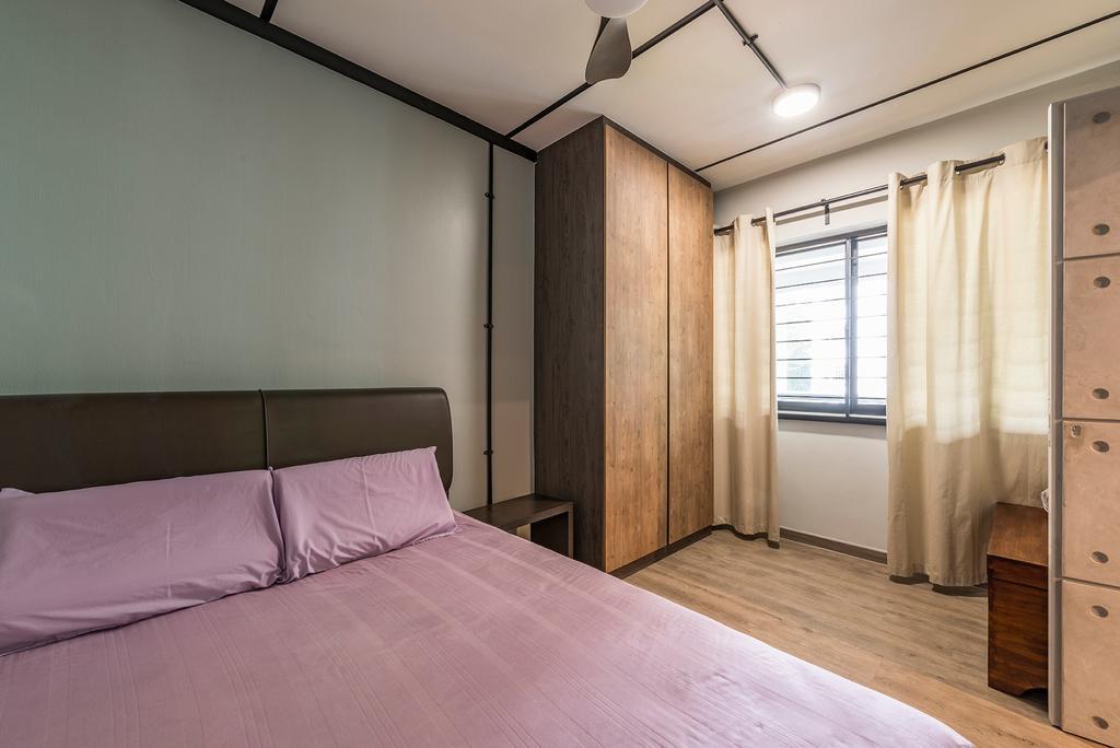 Industrial, HDB, Queen's Close, Interior Designer, Ace Space Design, Retro, Bed, Furniture, Bedroom, Indoors, Interior Design, Room