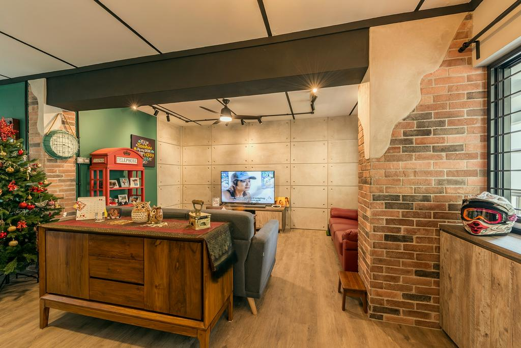 Industrial, HDB, Living Room, Queen's Close, Interior Designer, Ace Space Design, Retro, Couch, Furniture, Indoors, Interior Design, Kitchen, Room