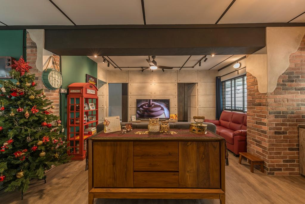 Industrial, HDB, Living Room, Queen's Close, Interior Designer, Ace Space Design, Retro, Flora, Jar, Plant, Potted Plant, Pottery, Vase, Couch, Furniture, Phone Booth, Conifer, Sideboard, Tree, Yew, Indoors, Interior Design, Kitchen, Room