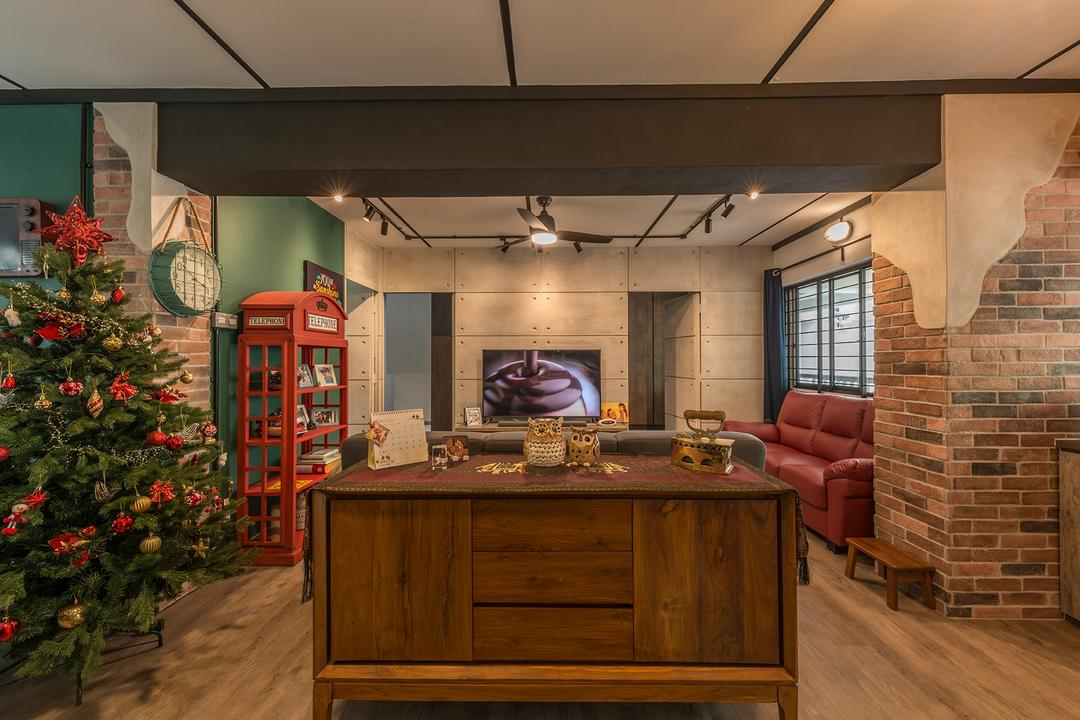 Queen's Close, Ace Space Design, Industrial, Retro, Living Room, HDB, Flora, Jar, Plant, Potted Plant, Pottery, Vase, Couch, Furniture, Phone Booth, Conifer, Sideboard, Tree, Yew, Indoors, Interior Design, Kitchen, Room