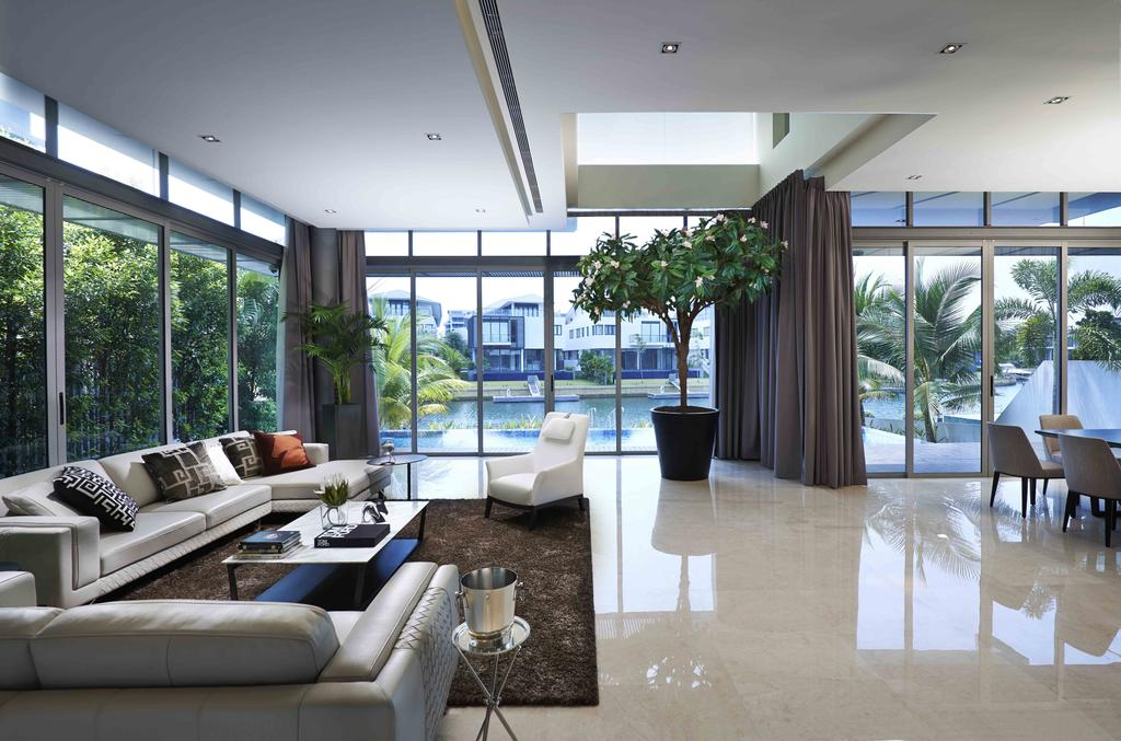 Modern, Landed, Cove Drive Residence, Architect, GK Architects, Flooring, Couch, Furniture, Dining Table, Table