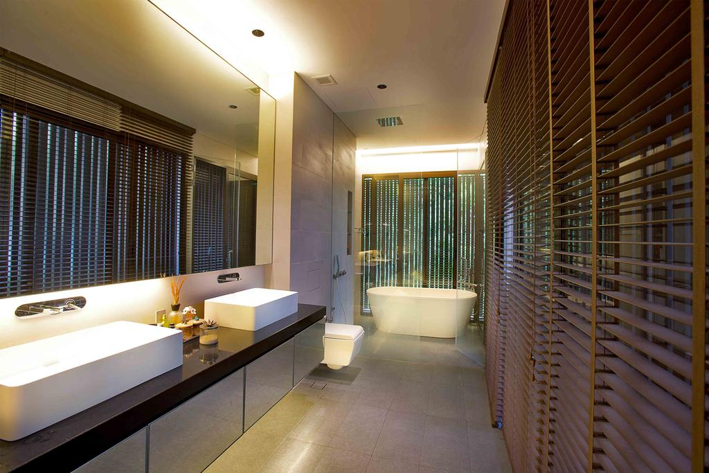 Transitional, Landed, Eng Neo Residence, Architect, GK Architects, Bathroom, Indoors, Interior Design, Room, Corridor, Bathtub, Tub