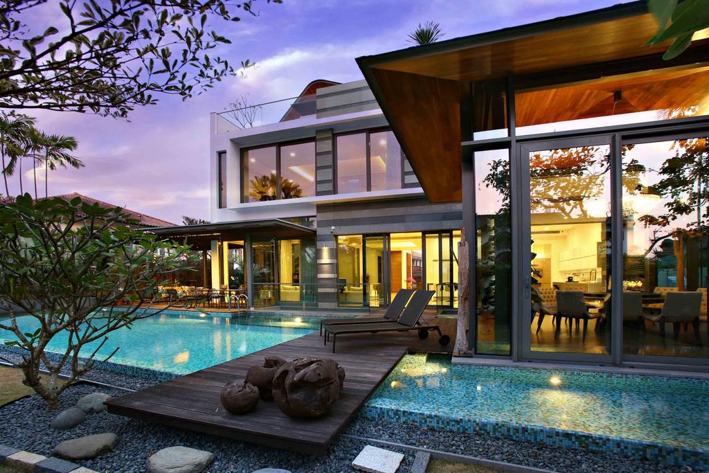 Modern, Landed, Maryland Residence, Architect, GK Architects, Pool, Water, Bench, Building, House, Housing, Villa