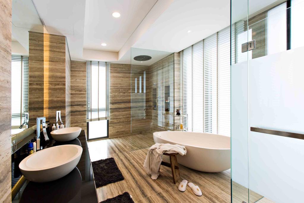 Modern, Landed, Maryland Residence, Architect, GK Architects, Sink, Plywood, Wood, Bathroom, Indoors, Interior Design, Room, Carpet, Home Decor