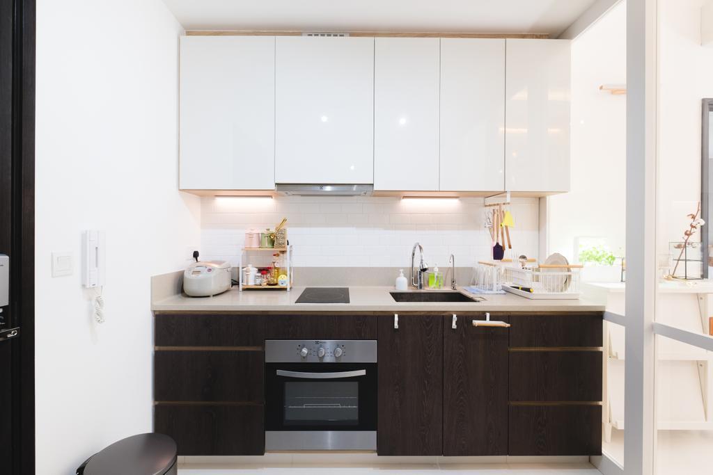 Minimalist, Condo, Kitchen, E Maison, Interior Designer, Lemonfridge Studio, Scandinavian, Appliance, Electrical Device, Oven, Indoors, Interior Design, Room