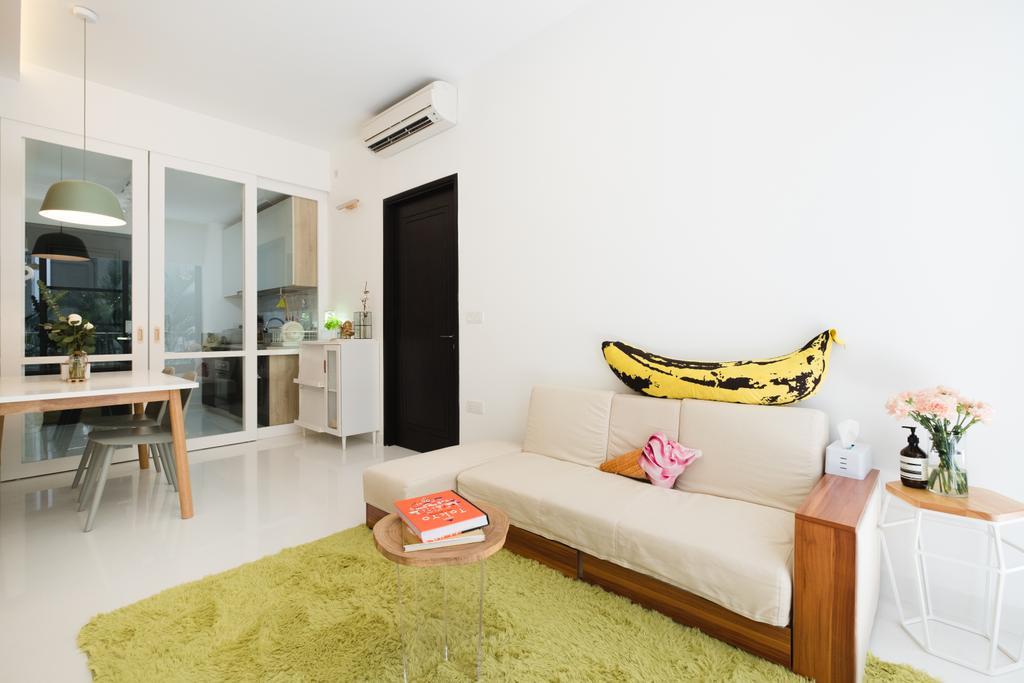 Minimalistic, Condo, Living Room, E Maison, Interior Designer, Lemonfridge Studio, Scandinavian, Dining Table, Furniture, Table, Bed, Indoors, Room