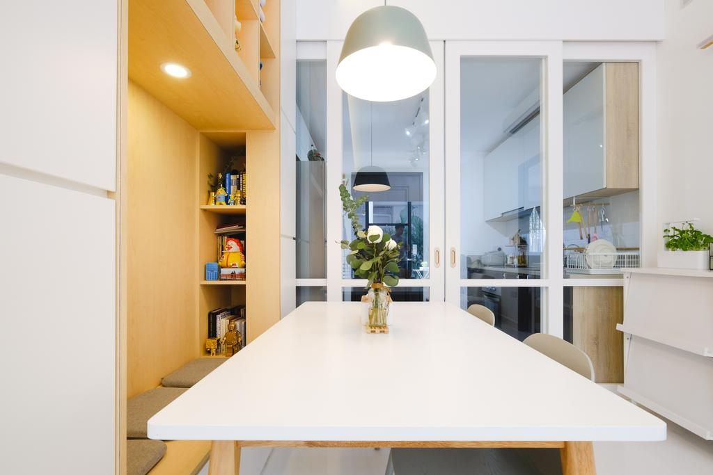 Minimalistic, Condo, Dining Room, E Maison, Interior Designer, Lemonfridge Studio, Scandinavian, Indoors, Interior Design, Room, Dining Table, Furniture, Table, Lighting