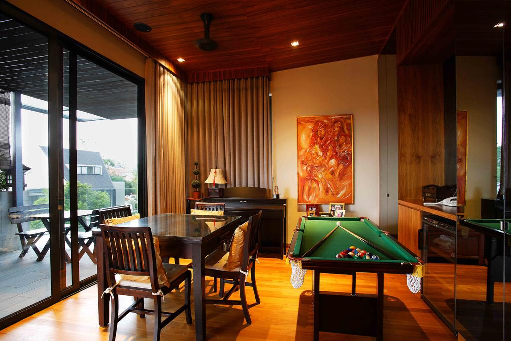 Traditional, Landed, Watten Residence, Architect, GK Architects, Chair, Furniture, Billiard Room, Indoors, Room, Dining Room, Interior Design, Dining Table, Table