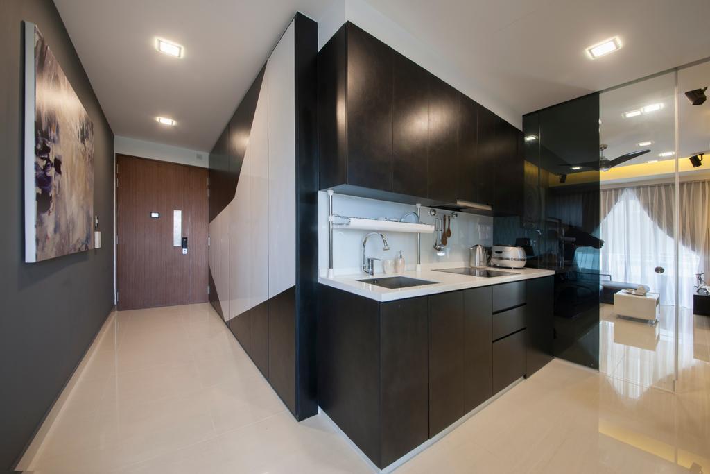 Contemporary, Condo, Kitchen, M66, Interior Designer, The Roomakers, Sink, Indoors, Interior Design, Room, Corridor