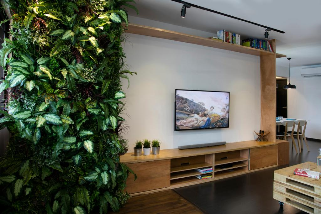 Scandinavian, HDB, Living Room, Marsiling (Block 133), Interior Designer, The Roomakers, Flora, Jar, Plant, Potted Plant, Pottery, Vase, Building, Housing, Indoors, Loft