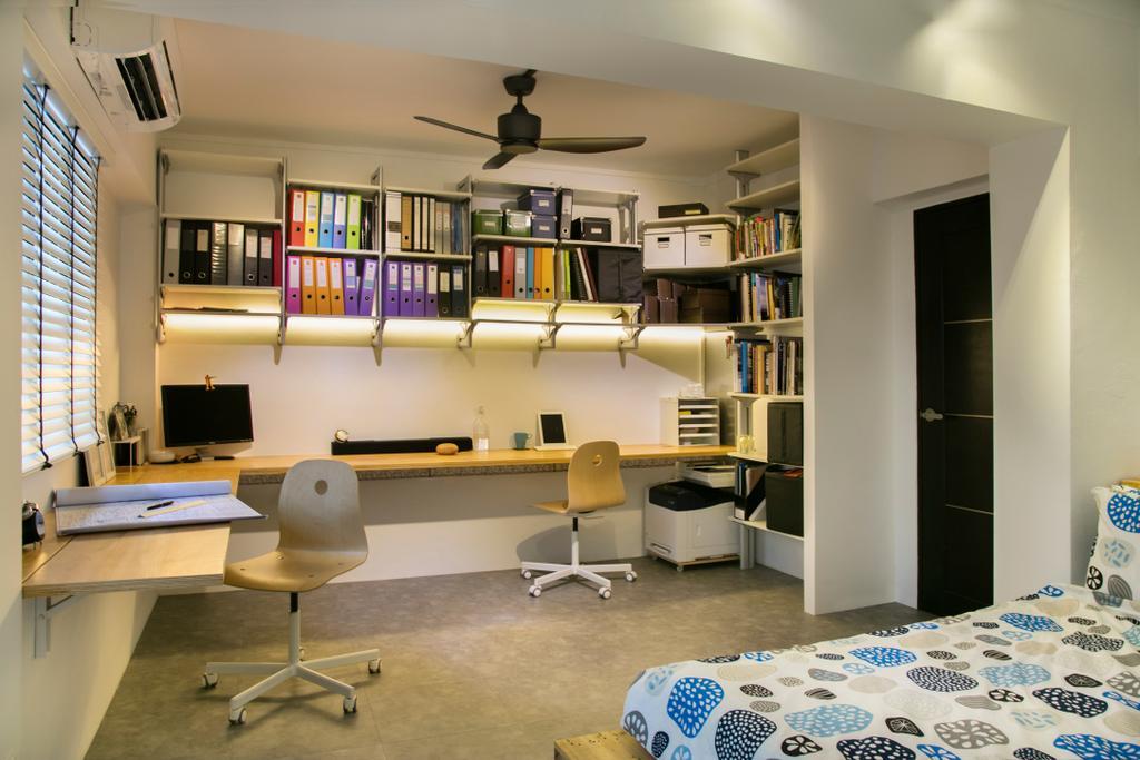 Scandinavian, HDB, Study, Marsiling (Block 133), Interior Designer, The Roomakers, Flooring, Indoors, Room, Desk, Furniture, Table