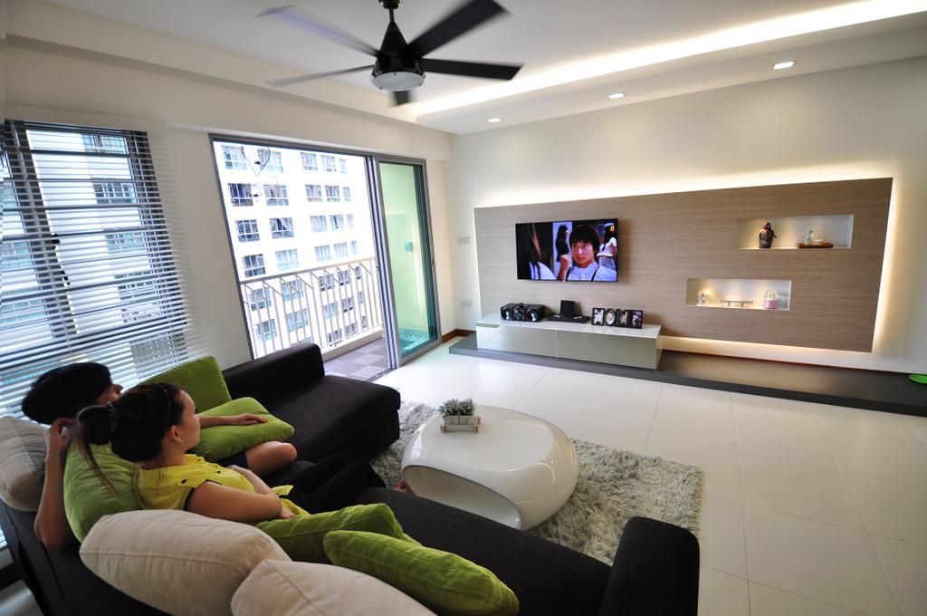 Modern, HDB, Living Room, Punggol Walk (Block 272A), Interior Designer, The Roomakers, Electronics, Entertainment Center, Home Theater, Indoors, Interior Design, Couch, Furniture, Shelf, Light Fixture
