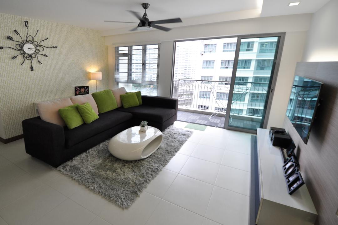 Punggol Walk (Block 272A), The Roomakers, Modern, Living Room, HDB, Couch, Furniture, Calligraphy, Handwriting, Text