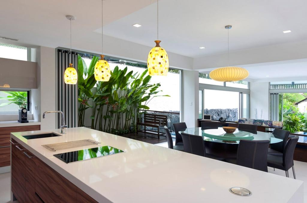 Transitional, Landed, Clementi Crescent, Architect, Timur Designs, Couch, Furniture, Flora, Jar, Plant, Potted Plant, Pottery, Vase, Indoors, Interior Design, Dining Room, Room, Balcony, Dining Table, Table