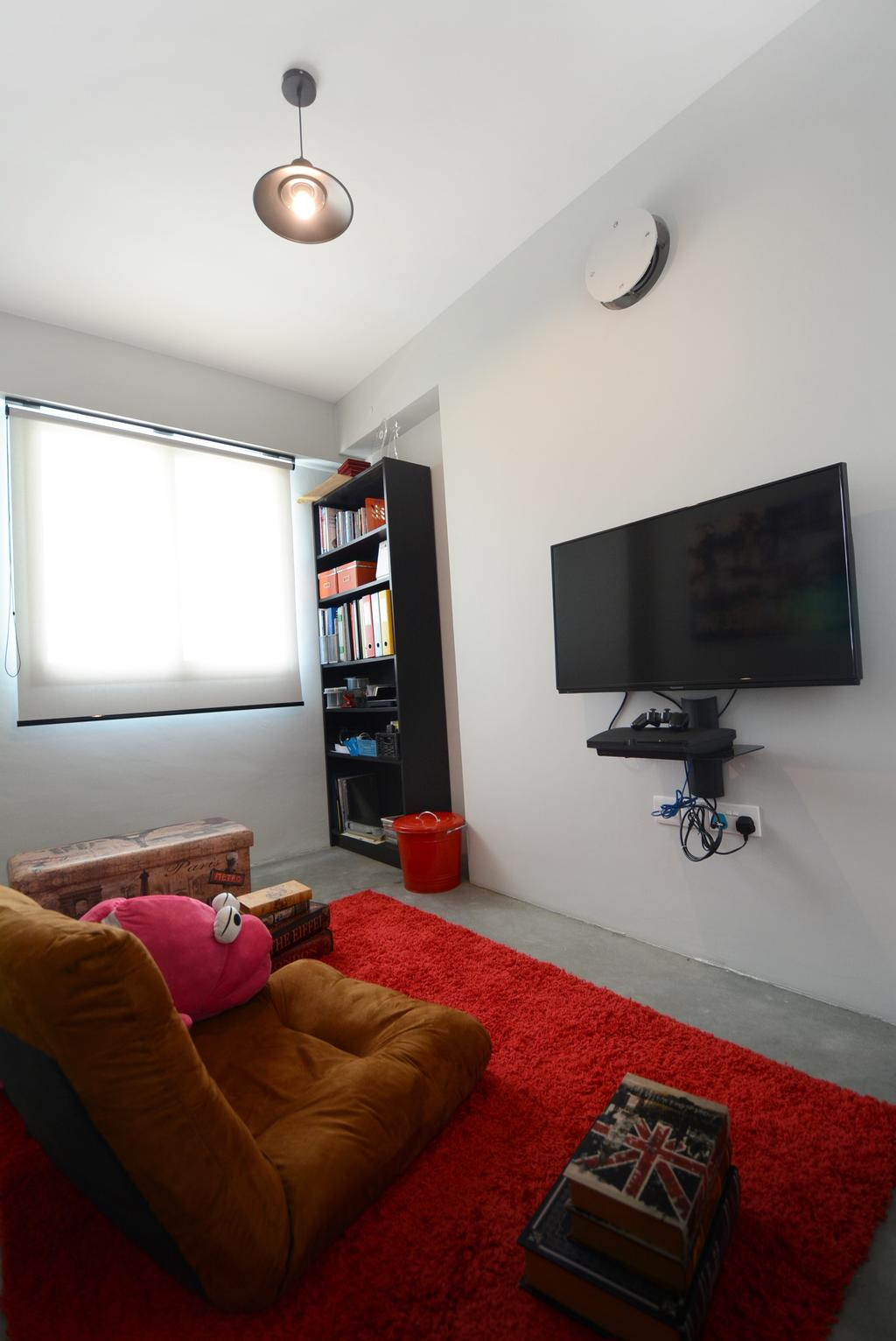 Eclectic, HDB, Bedroom, Yishun (Block 334B), Interior Designer, The Roomakers, Bookcase, Furniture, Electronics, Lcd Screen, Monitor, Screen, Luggage, Suitcase
