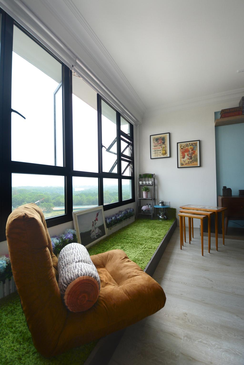 Eclectic, HDB, Living Room, Yishun (Block 334B), Interior Designer, The Roomakers, Emblem, Dining Table, Furniture, Table, Chair