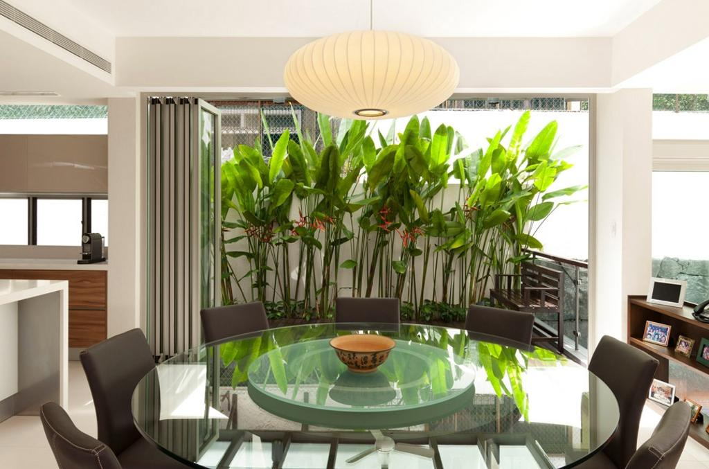 Transitional, Landed, Clementi Crescent, Architect, Timur Designs, Dining Room, Indoors, Interior Design, Room, Flora, Jar, Plant, Potted Plant, Pottery, Vase, Door, Sliding Door, Bowl