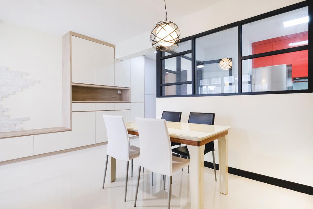 Scandinavian, HDB, Dining Room, Compassvale (Block 286C), Interior Designer, Lemonfridge Studio, Dining Table, Furniture, Table, Chair, Indoors, Interior Design, Room, Light Fixture