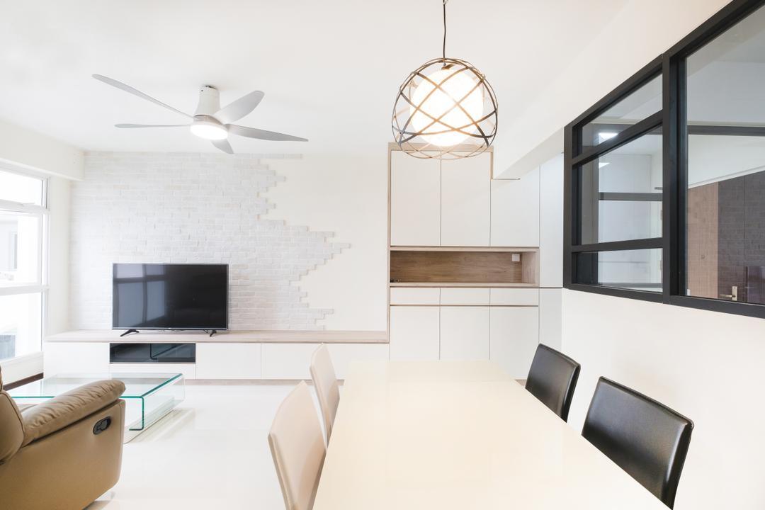 Compassvale (Block 286C), Lemonfridge Studio, Scandinavian, Living Room, HDB, Light Fixture, Door, Sliding Door, Aluminium, Indoors, Interior Design, Dining Room, Room