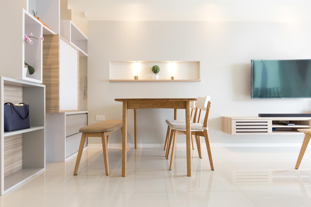 Minimalistic, Condo, Dining Room, The Topiary, Interior Designer, Charlotte's Carpentry, Scandinavian, Dining Table, Furniture, Table, Indoors, Interior Design, Room