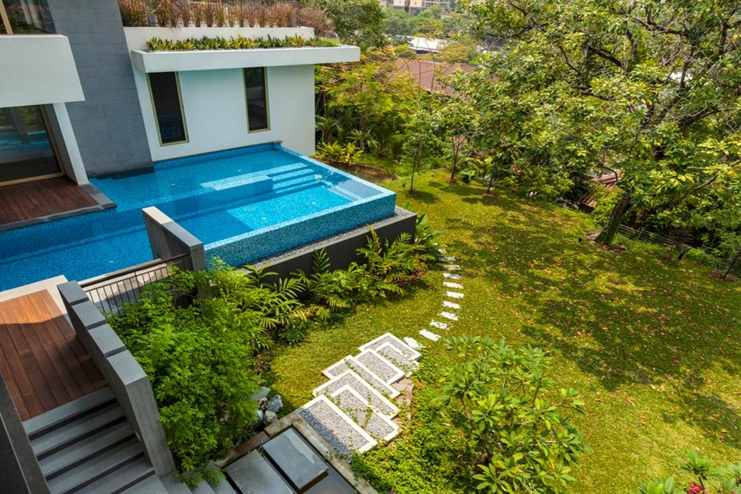 Olive Road, Timur Designs, Contemporary, Landed, Bush, Flora, Plant, Vegetation, Pool, Water
