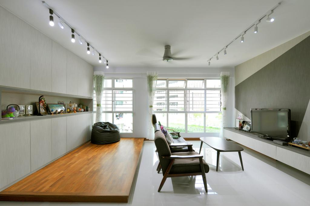 Minimalistic, HDB, Living Room, Punggol Field (Block 662D), Interior Designer, Omni Design, Contemporary