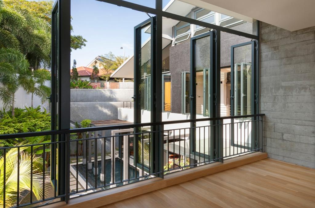 Modern, Landed, Siglap Avenue, Architect, Timur Designs, Door, Folding Door, Flora, Jar, Plant, Potted Plant, Pottery, Vase, Chair, Furniture, Terrace