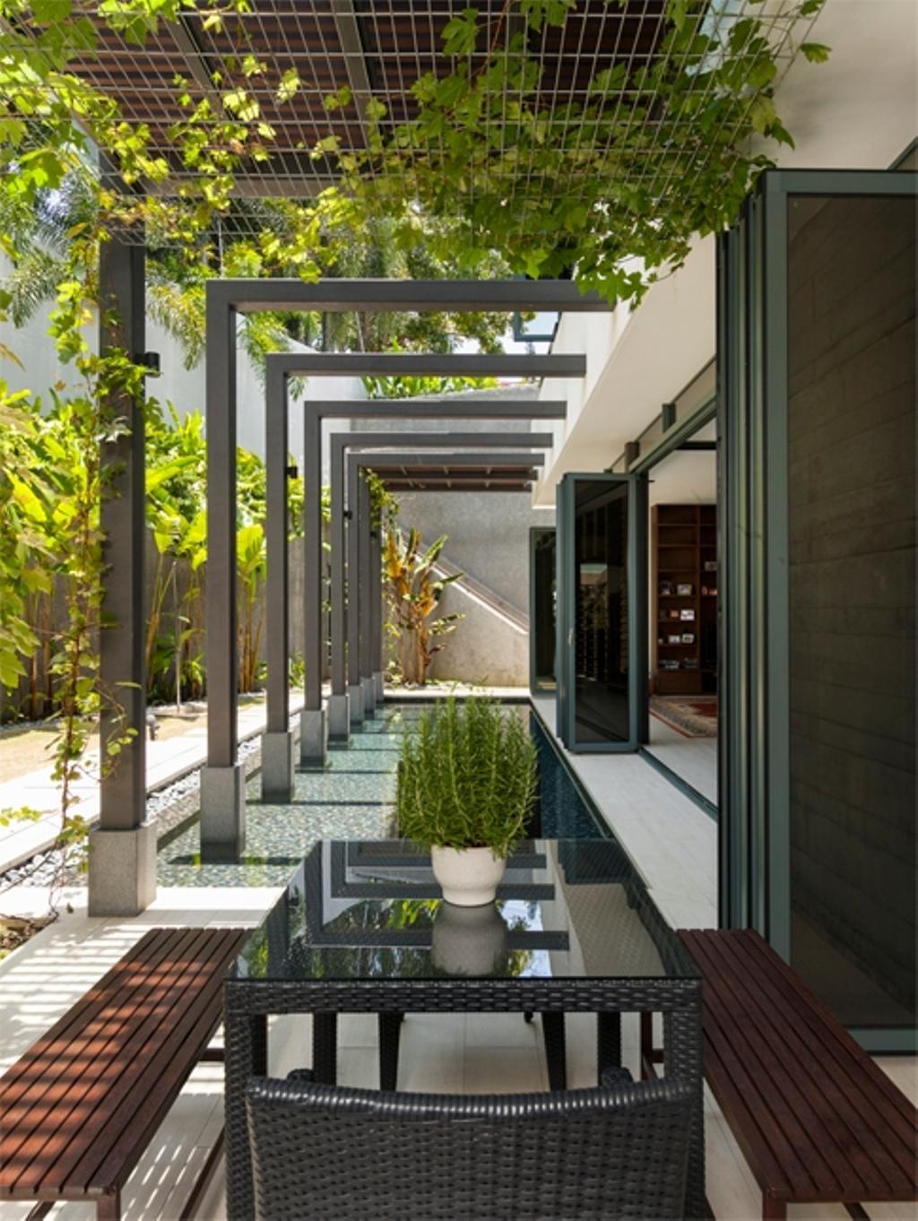 Modern, Landed, Garden, Siglap Avenue, Architect, Timur Designs, Porch, Flora, Jar, Plant, Potted Plant, Pottery, Vase