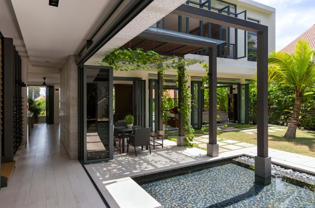 Modern, Landed, Garden, Siglap Avenue, Architect, Timur Designs, Corridor, Building, House, Housing, Villa, Door, Folding Door