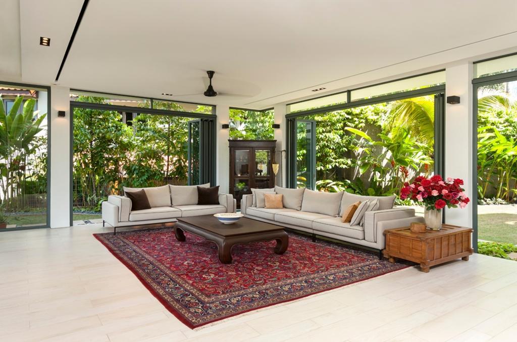 Modern, Landed, Living Room, Siglap Avenue, Architect, Timur Designs, Window, Carpet, Home Decor, Furniture