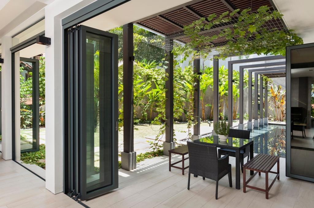 Modern, Landed, Garden, Siglap Avenue, Architect, Timur Designs, Door, Folding Door, Chair, Furniture, Dining Table, Table