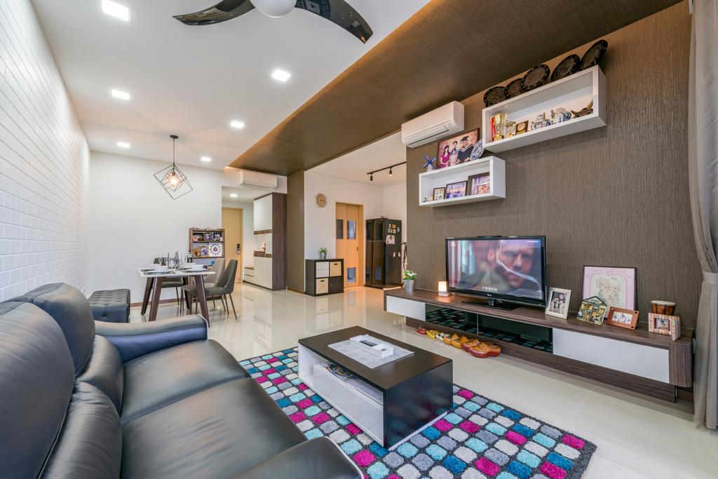 Contemporary, Condo, Living Room, Sea Horizon, Interior Designer, VNA Design, Couch, Furniture, Dining Table, Table