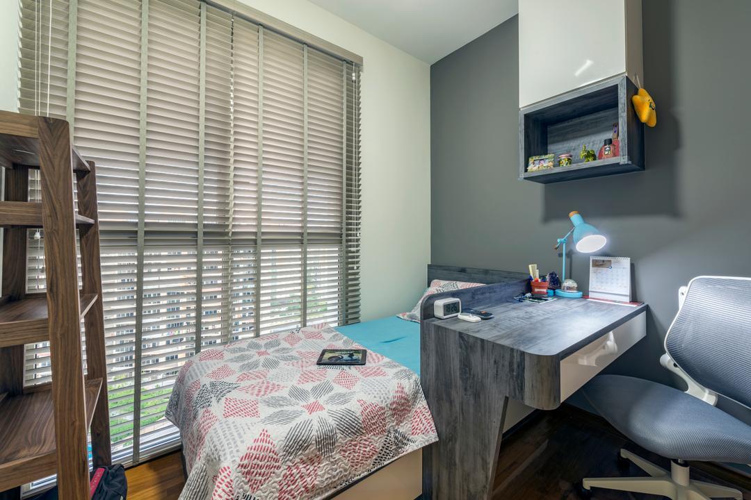 Sea Horizon, VNA Design, Contemporary, Bedroom, Condo, Chair, Furniture, Home Decor, Quilt, Indoors, Interior Design, Room, Siding