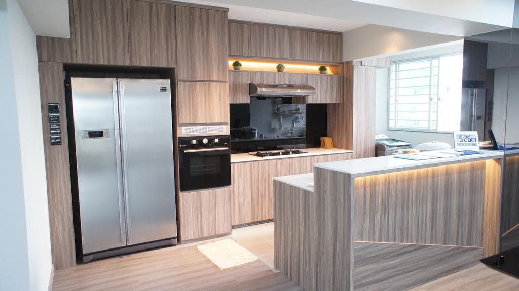 Contemporary, HDB, Kitchen, Choa Chu Kang Avenue 7 (Block 815B), Interior Designer, INCLOVER DESIGN, Appliance, Electrical Device, Fridge, Refrigerator, Indoors, Interior Design, Room, Oven
