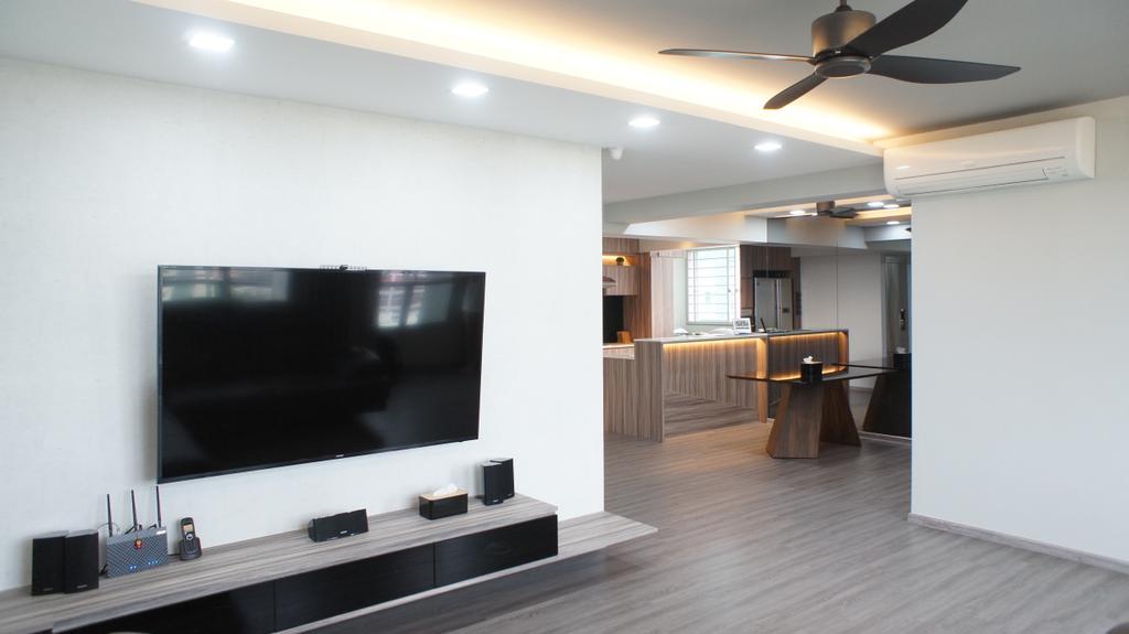Contemporary, HDB, Dining Room, Choa Chu Kang Avenue 7 (Block 815B), Interior Designer, INCLOVER DESIGN, Propeller, Electronics, Lcd Screen, Monitor, Screen, Hardwood, Wood, Entertainment Center
