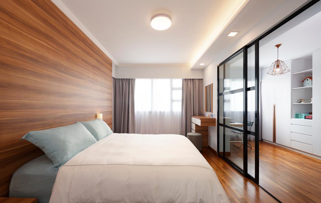 Minimalistic, HDB, Bedroom, Jalan Tenteram (Block 117B), Interior Designer, Spire Id, Building, Housing, Indoors, Loft, Interior Design, Room, Bed, Furniture