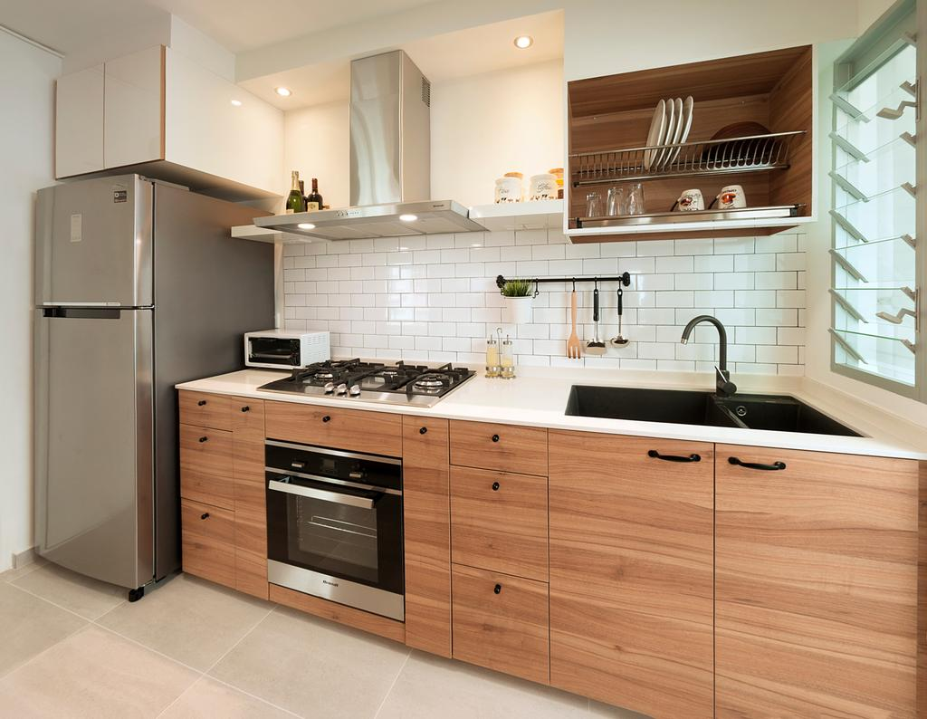 Minimalistic, HDB, Kitchen, Jalan Tenteram (Block 117B), Interior Designer, Spire Id, Indoors, Interior Design, Room, Appliance, Electrical Device, Oven