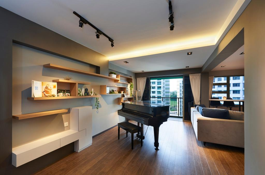 Contemporary, HDB, Living Room, Punggol Drive (Block 678B), Interior Designer, Spire Id, Grand Piano, Big Piano, Baby Grand, Piano, Couch, Furniture, Flooring, Leisure Activities, Music, Musical Instrument, Indoors, Interior Design, Building, Housing, Loft
