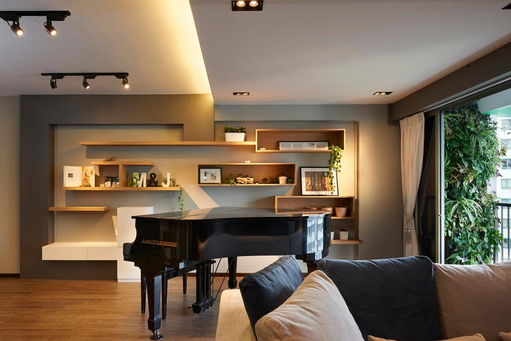 Contemporary, HDB, Living Room, Punggol Drive (Block 678B), Interior Designer, Spire Id, Storage, Vertical Storage, Wall Storage, Wall Shelves, Couch, Furniture, Flora, Jar, Plant, Potted Plant, Pottery, Vase, Leisure Activities, Music, Musical Instrument, Piano, Light Fixture, Indoors, Room