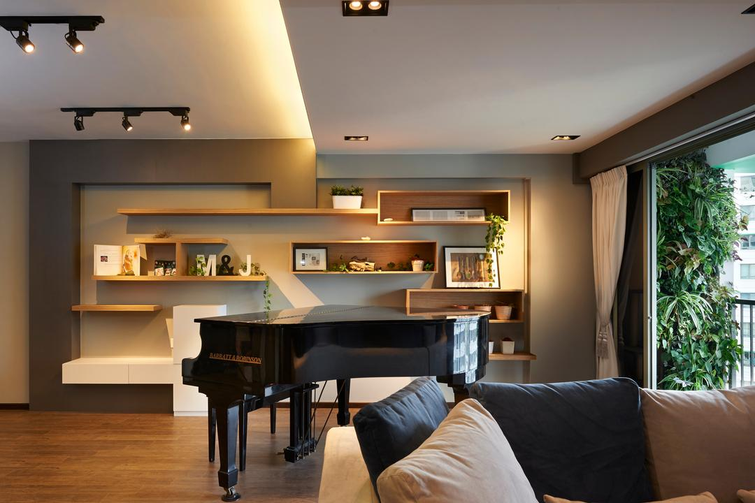 Punggol Drive (Block 678B), Spire Id, Contemporary, Living Room, HDB, Storage, Vertical Storage, Wall Storage, Wall Shelves, Couch, Furniture, Flora, Jar, Plant, Potted Plant, Pottery, Vase, Leisure Activities, Music, Musical Instrument, Piano, Light Fixture, Indoors, Room