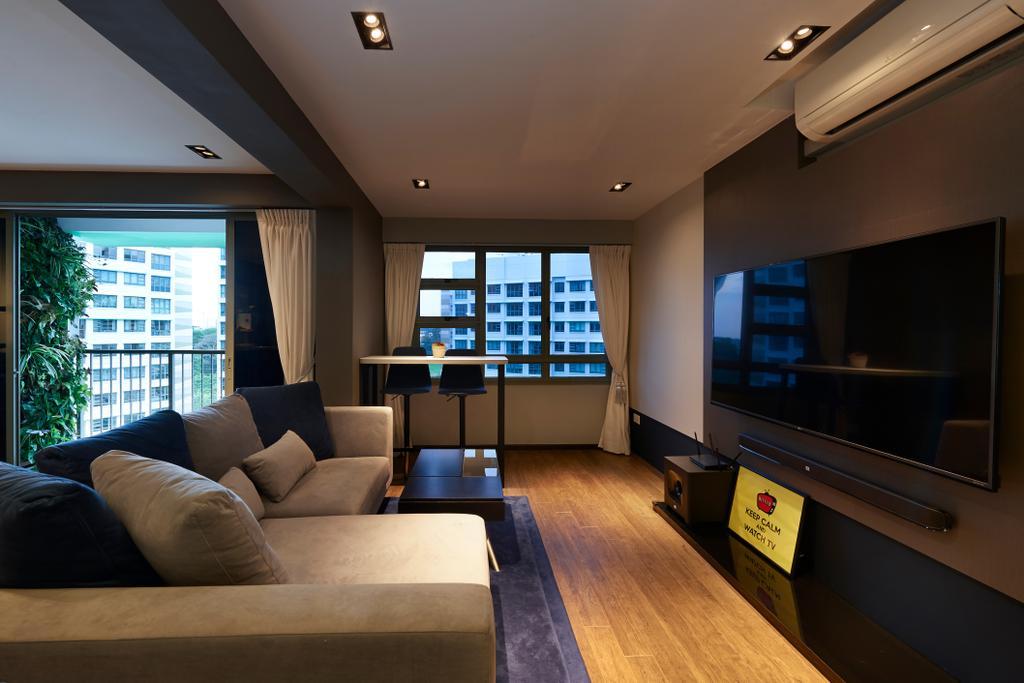 Contemporary, HDB, Living Room, Punggol Drive (Block 678B), Interior Designer, Spire Id, Couch, Furniture, Indoors, Interior Design, Flooring, Building, Housing