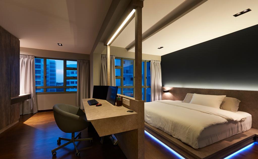 Contemporary, HDB, Bedroom, Punggol Drive (Block 678B), Interior Designer, Spire Id, Chair, Furniture, Bed, Indoors, Interior Design, Room