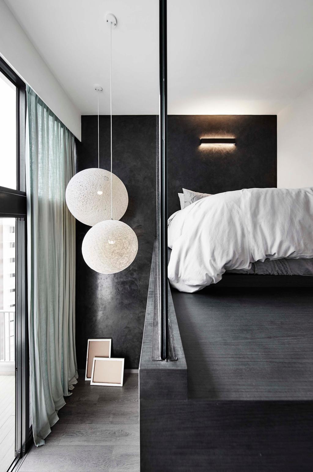 Contemporary, Condo, Bedroom, Waterbay, Interior Designer, Notion of W, Curtain, Home Decor, Bed, Furniture