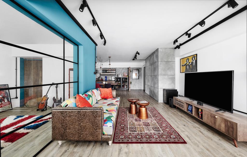 Eclectic, HDB, Living Room, Woodlands, Interior Designer, Notion of W, Carpet, Home Decor, Building, Housing, Indoors, Loft, Electronics, Entertainment Center