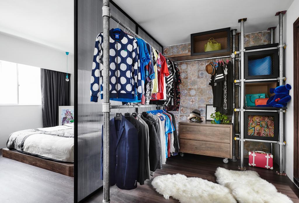 Eclectic, HDB, Bedroom, Woodlands, Interior Designer, Notion of W, Walk In Wardrobe, Wardrobe, Light, Traffic Light