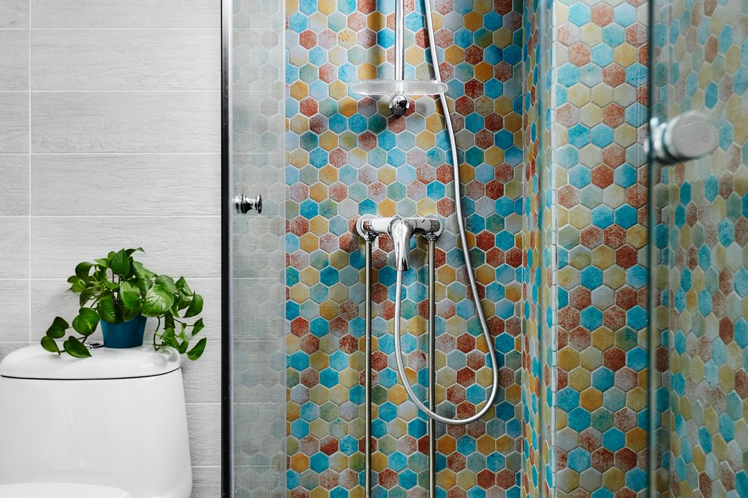 Woodlands, Notion of W, Eclectic, Bathroom, HDB, Mosaic Tiles, Hexagonal, Flora, Jar, Plant, Potted Plant, Pottery, Vase, Curtain, Home Decor, Shower Curtain