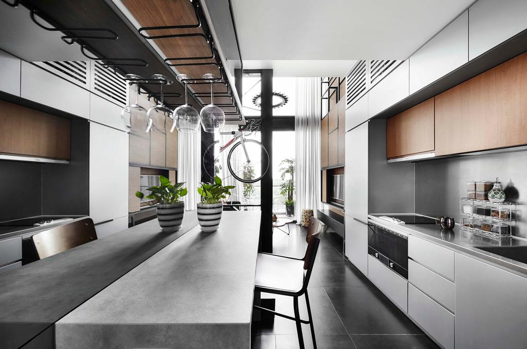 Modern, Condo, Kitchen, Fort Road, Interior Designer, Third Avenue Studio, Flora, Jar, Plant, Planter, Potted Plant, Pottery, Vase, Chair, Furniture, HDB, Building, Housing, Indoors, Loft